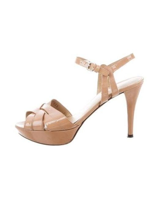 6335e0720ed Stuart Weitzman - Metallic Patent Leather Ankle Strap Sandal Nude - Lyst ...