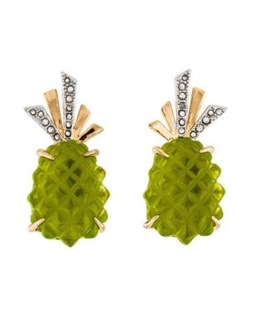 Alexis Bittar - Metallic Lucite & Crystal Pineapple Clip-on Earrings Yellow - Lyst