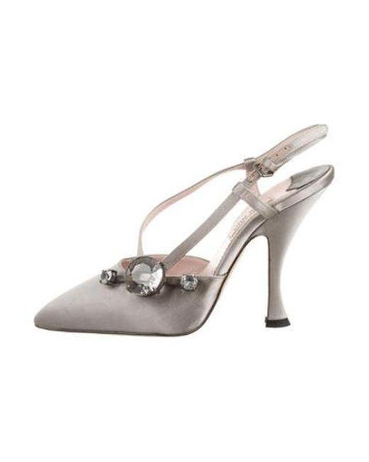 8c1a2fdcb Miu Miu - Gray Miu Satin Embellished Slingback Pumps Grey - Lyst ...