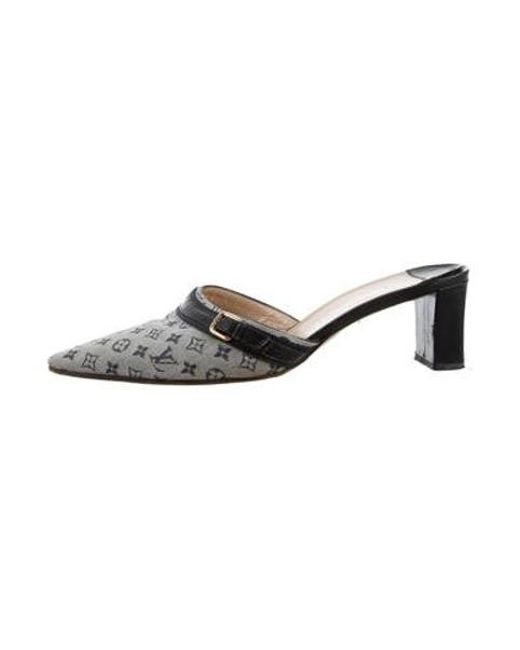 4fc8d9769d4f Louis Vuitton - Gray Monogram Pointed-toe Mules Grey - Lyst ...