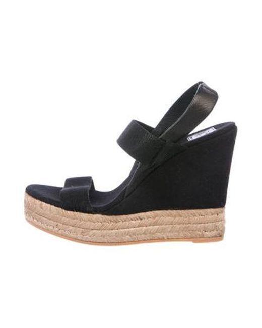 92d35fdafab9 Tory Burch - Black Canvas Wedge Sandals - Lyst ...