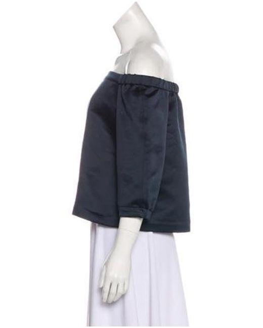 00789b0acb4b0 ... Tibi - Blue Off-the-shoulder Three-quarter Sleeve Top - Lyst ...