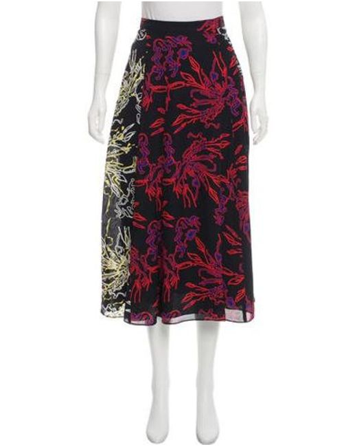 Tanya Taylor - Natural Jackson Silk Midi Skirt W/ Tags Black - Lyst