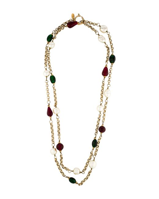 Chanel | Metallic Crystal & Pearl Station Necklace Gold | Lyst