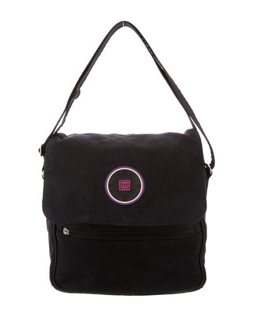 Chanel | Metallic Sport Line Perforated Suede Messenger Bag Black | Lyst