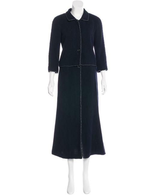chanel wool tweed skirt suit navy in blue lyst