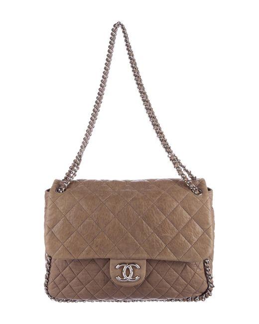 Chanel | Metallic Chain Around Maxi Flap Bag Silver | Lyst