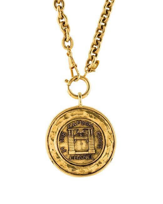Chanel   Metallic Medallion Pendant Necklace Gold   Lyst