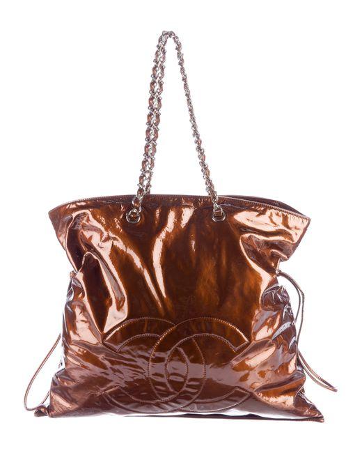 Chanel | Metallic Patent Leather Bon Tote Silver | Lyst