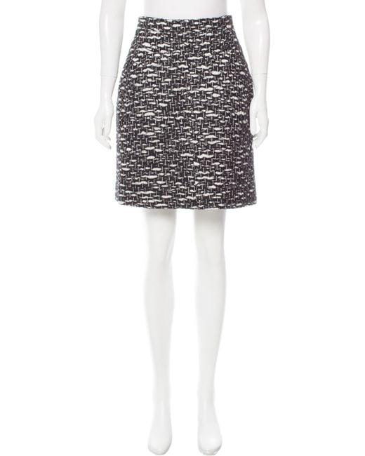 Chanel | Black Patterned Wool Skirt | Lyst