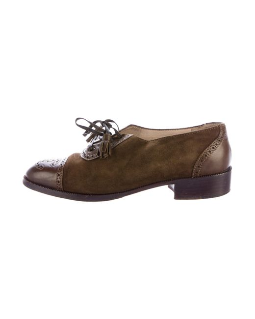 Chanel | Green Suede Cap-toe Oxfords Olive | Lyst