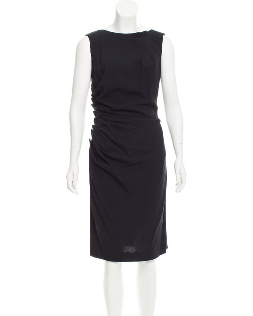 Dior   Black Gathered Midi Dress   Lyst