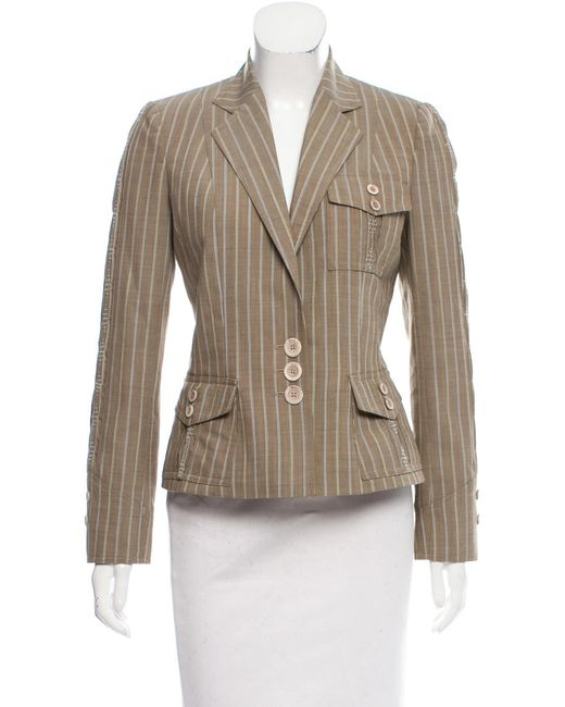 Dior | Natural Pinstriped Wool Blazer Beige | Lyst