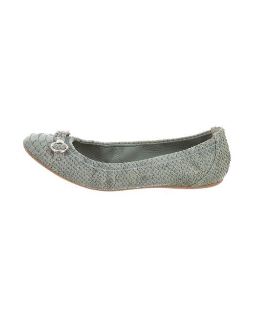 Dior | Metallic Python Round-toe Flats Silver | Lyst