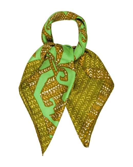 Dior   Green Silk Abstract Scarf Olive   Lyst