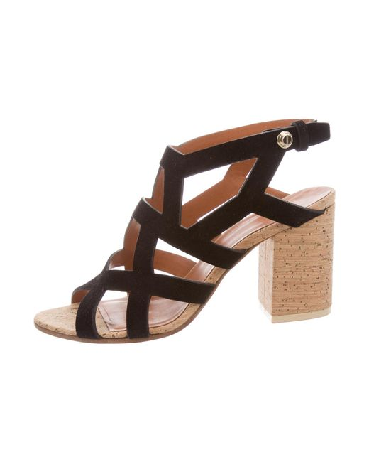 Givenchy | Black Suede Multistrap Sandals | Lyst