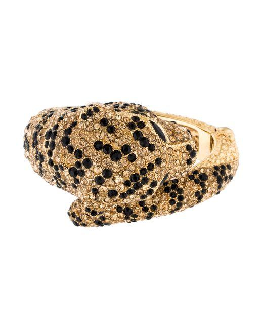 Roberto Cavalli | Metallic Jeweled Panther Cuff Gold | Lyst