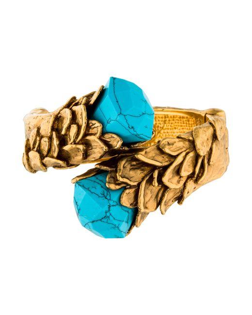 Roberto Cavalli | Metallic Turquoise Hinged Bypass Bangle Bracelet Gold | Lyst