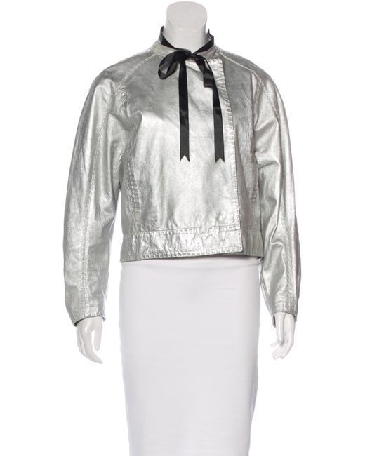 Balmain | Metallic Leather Jacket Silver | Lyst