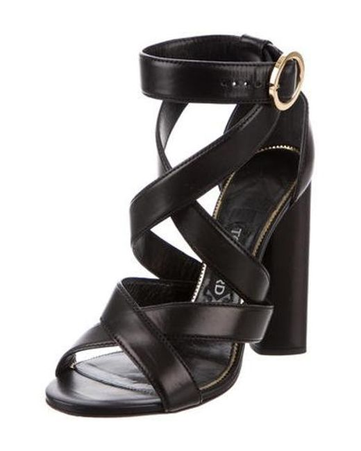 84fd28e5393 ... Tom Ford - Black Leather Crossover Sandals - Lyst ...