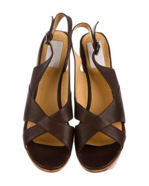 72961591a95 ... Lanvin - Brown Wooden Platform Sandals - Lyst ...