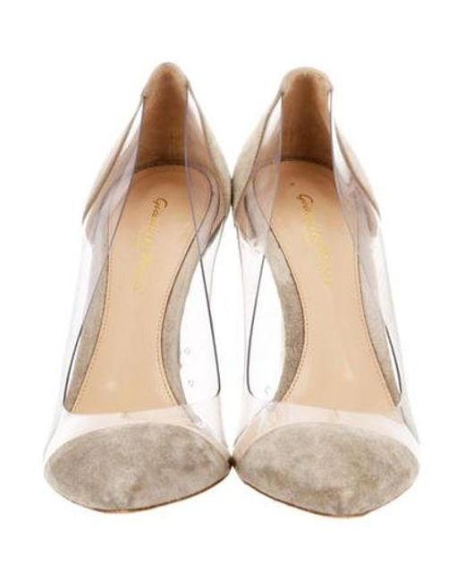 39a6e3aad6c8 ... Gianvito Rossi - Gray Suede Trimmed Pumps Grey - Lyst ...