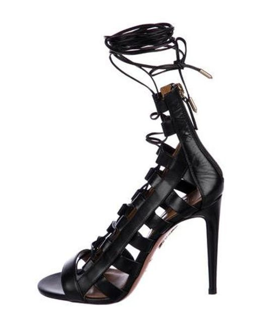 ced3e3b3300 Aquazzura - Black Amazon Leather Sandals W  Tags - Lyst ...