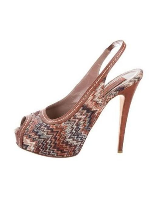 e70ba63cba56b3 Missoni - Brown Knit Slingback Sandals - Lyst ...