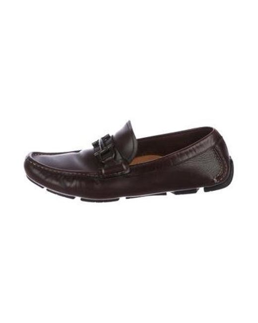 3d3e1cd829b Ferragamo - Brown Leather Gancini Driving Loafers for Men - Lyst ...