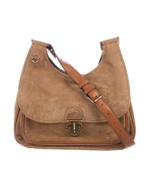 4bde7d30be1 Tory Burch - Metallic Suede Leather-trimmed Crossbody Bag Tan - Lyst ...