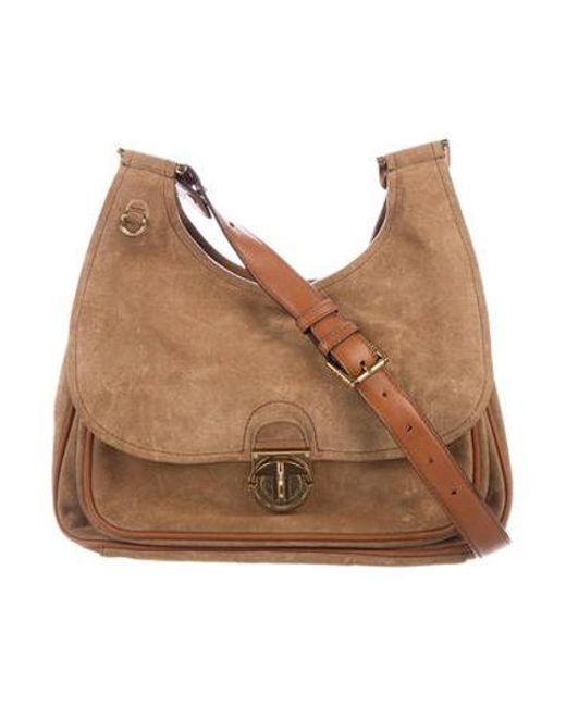 92cdb20bbd6 Tory Burch - Metallic Suede Leather-trimmed Crossbody Bag Tan - Lyst ...