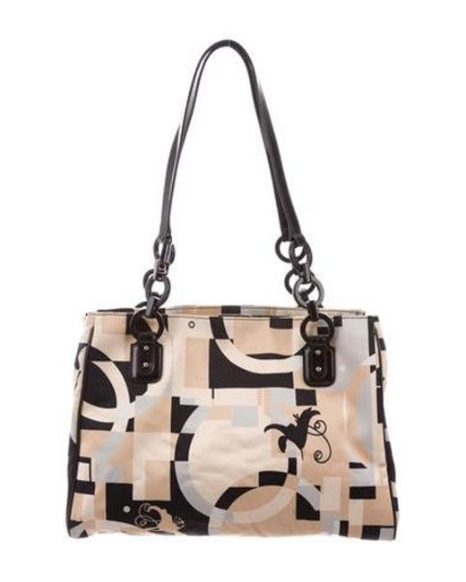 Ferragamo - Metallic Printed Satin Shoulder Bag Tan - Lyst ... 69c588699bdf6