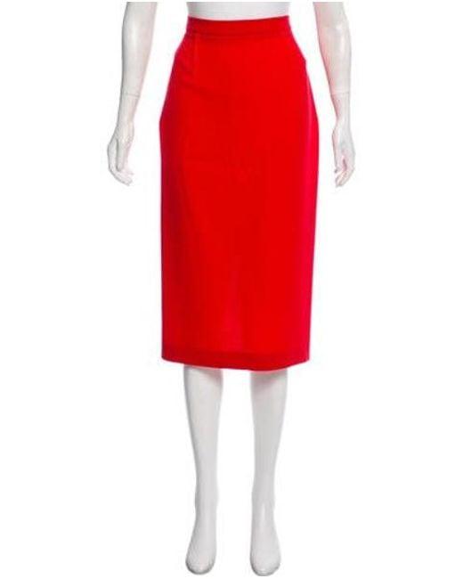 bf04e34fdb Roland Mouret - Red Wool Midi Skirt - Lyst ...