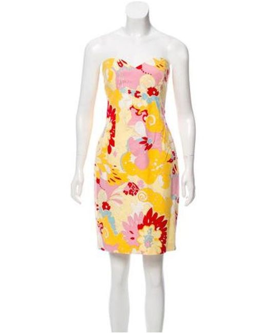 a8d891aceb95 David Meister - Yellow Printed Strapless Dress - Lyst ...