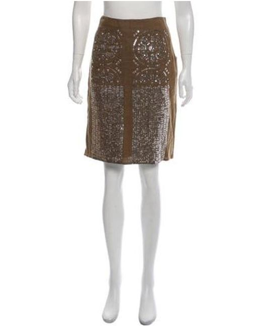 dc56a8193fa Tory Burch - Green Linen Embellished Knee-length Pencil Skirt - Lyst ...