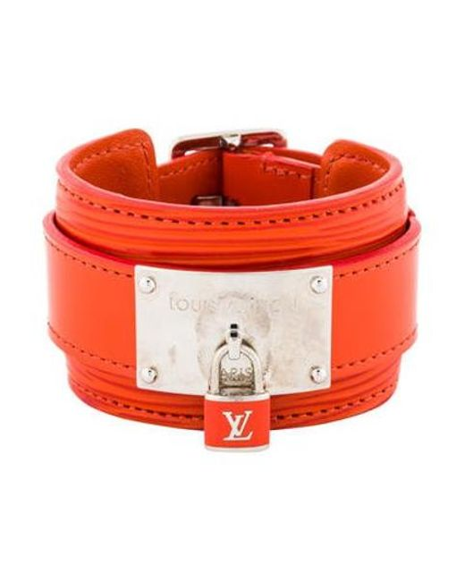 Lyst Louis Vuitton Leather Wrap Bracelet Gold In Metallic