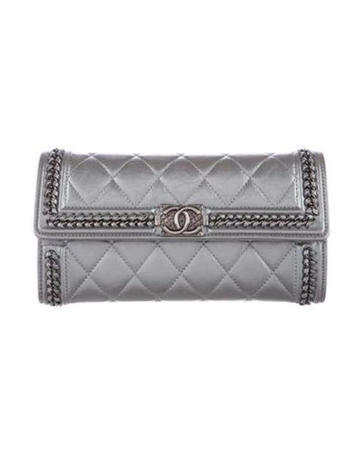 Chanel - Metallic 2016 Aged Calfskin Boy Zip-around Wallet - Lyst