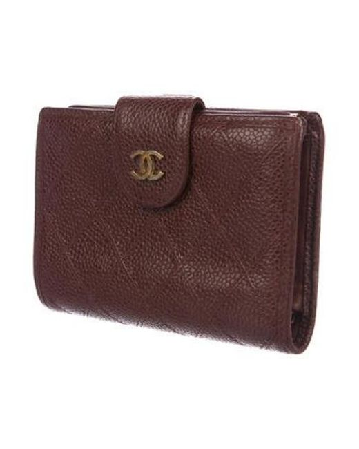 13b81cff6dc7 ... Chanel - Metallic Compact French Purse Wallet Brown - Lyst ...