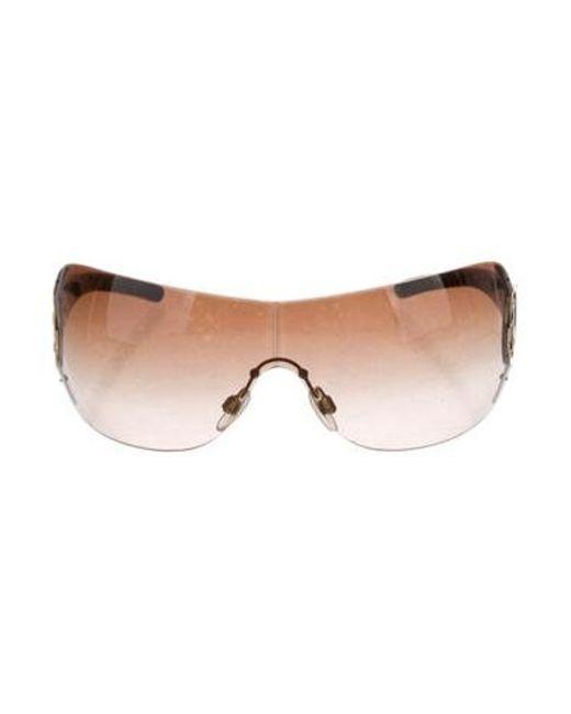 75a15e847cc02 Chanel - Metallic Cc Shield Sunglasses Gold - Lyst ...