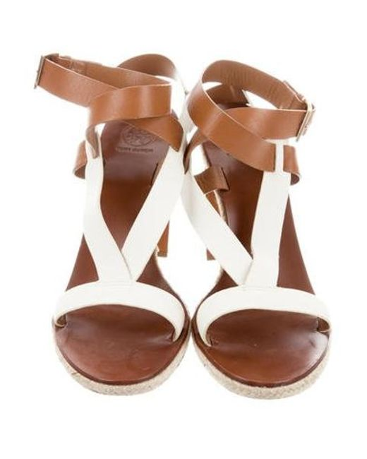 63bfb301f02 ... Tory Burch - Brown Leather Espadrille Sandals - Lyst ...