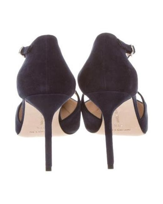 e19b5d811639 ... Manolo Blahnik - Blue Suede Pointed-toe Pumps Navy - Lyst