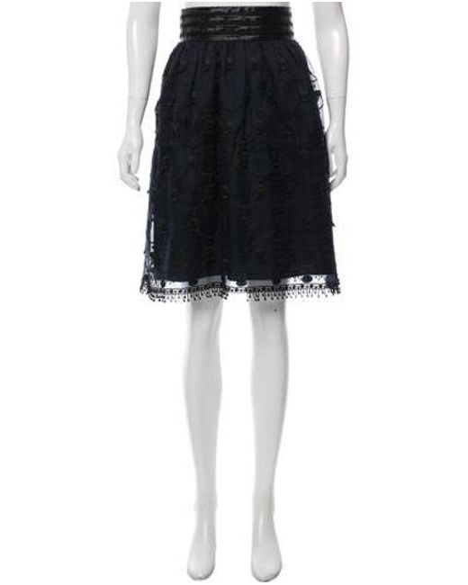 Anna Sui - Blue Embroidered Knee-length Skirt Navy - Lyst