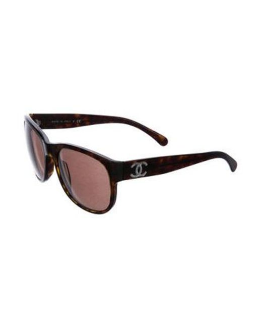 cf3a5a05b80 ... Chanel - Metallic Tortoiseshell Cc Sunglasses Brown - Lyst ...