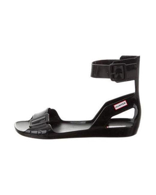 61ded12e6638 Hunter - Black Rubber Ankle Strap Sandals - Lyst ...