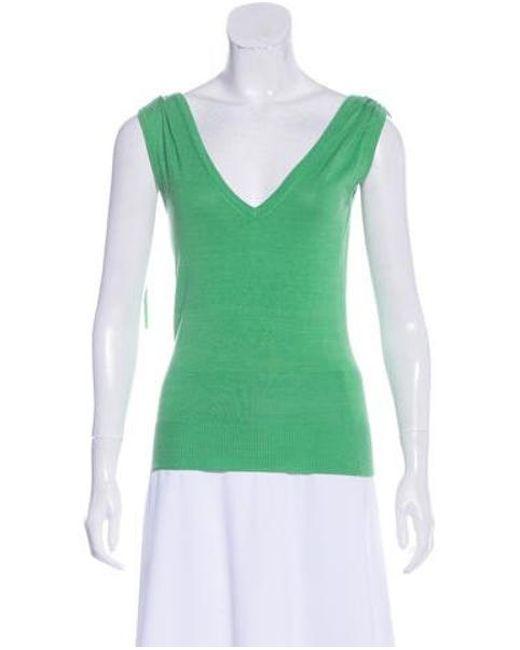 58fbabbd10bfc Diane von Furstenberg - Green Silk-blend Sleeveless Top - Lyst ...