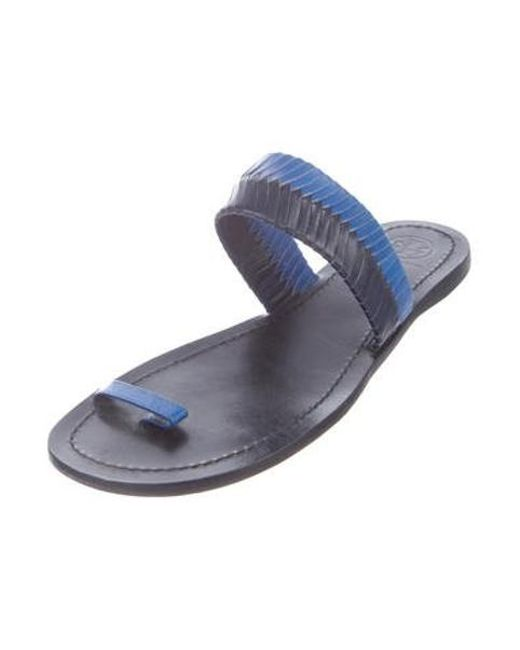 cac3a93bc793 ... Tory Burch - Black Leather Slide Sandals - Lyst ...
