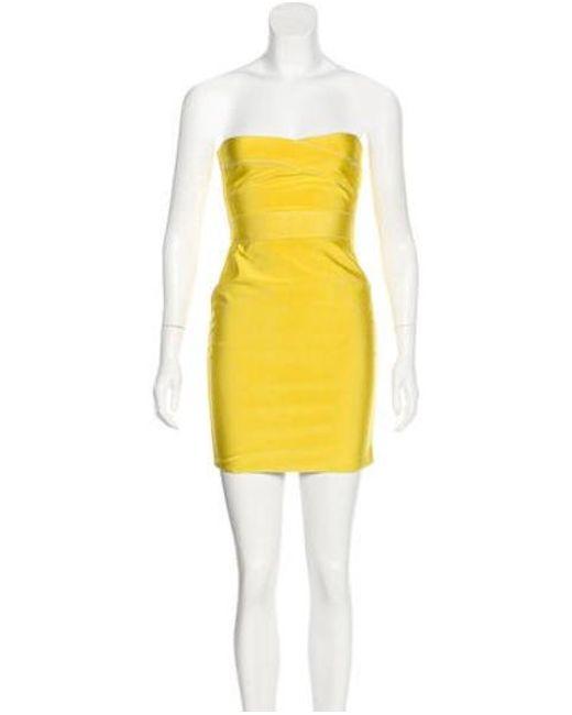 Hervé Léger - Yellow Reversible Bandage Dress - Lyst