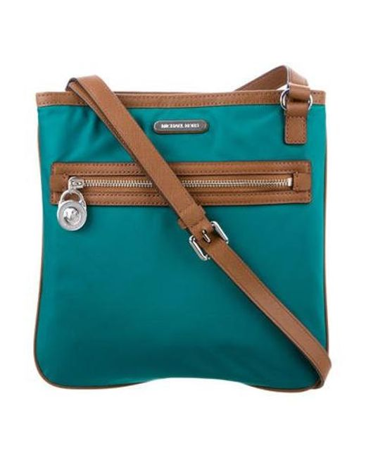 bac1c176c106 MICHAEL Michael Kors - Metallic Michael Kors Leather-trimmed Crossbody Bag  Teal - Lyst ...