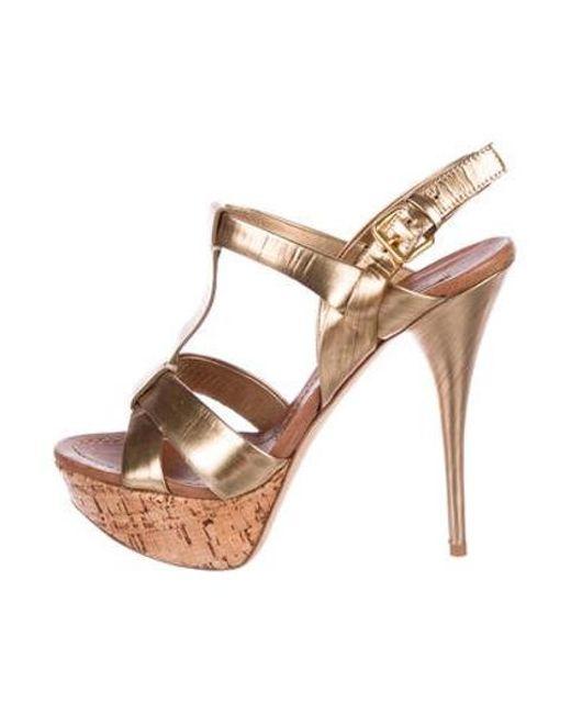 735cdf2dc0b8 Miu Miu - Metallic Miu Platform Sandals Gold - Lyst ...