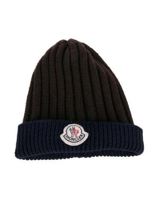61a43c61 Moncler - Brown Knit Logo Beanie for Men - Lyst ...